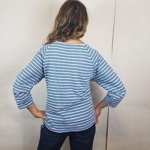 LOFT Tops - Loft stripe side tie blue top medium